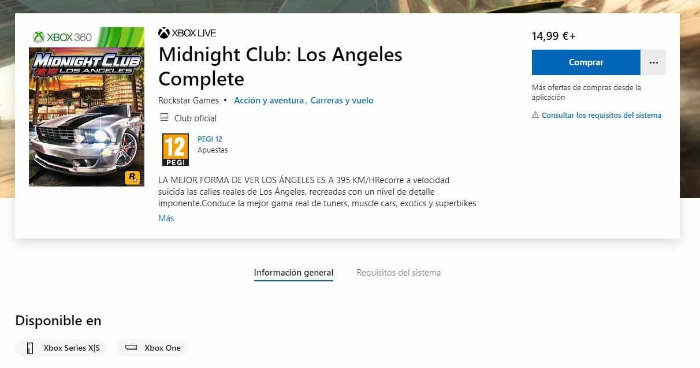 Midnight Club: Los Angeles regresa a la Xbox Store tras salir en 2018 ¿Un nuevo retrocompatible? 2