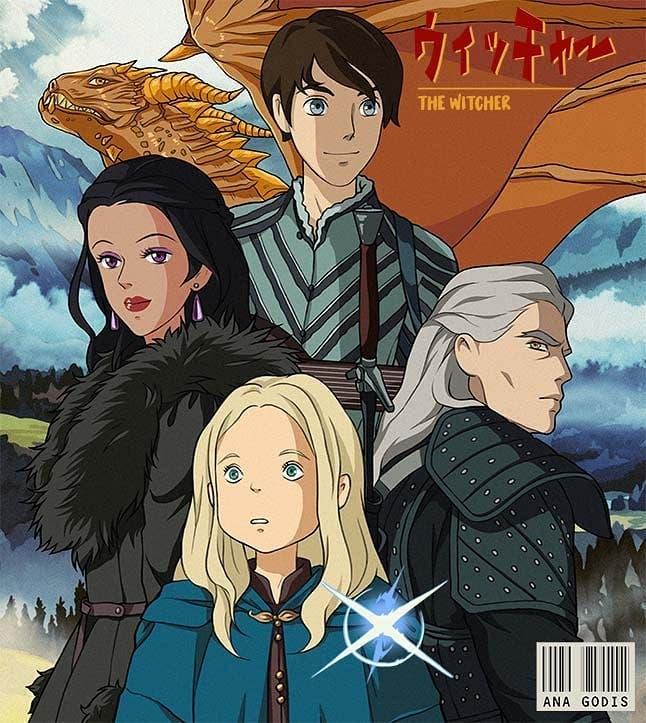 Una artista imagina cómo sería The Witcher si lo hubiera creado Studio Ghibli 1