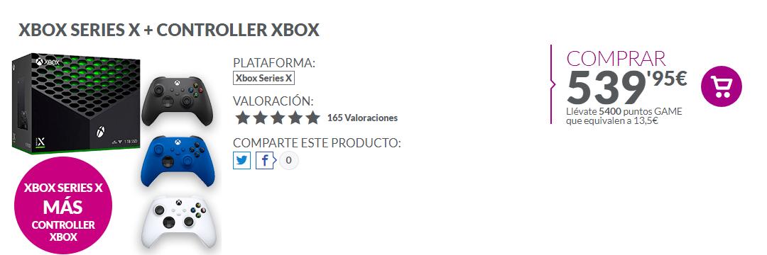 stock de Xbox Series X en GAME