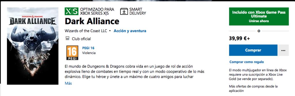 Ya disponible D&D Dark Alliance en Xbox Game Pass