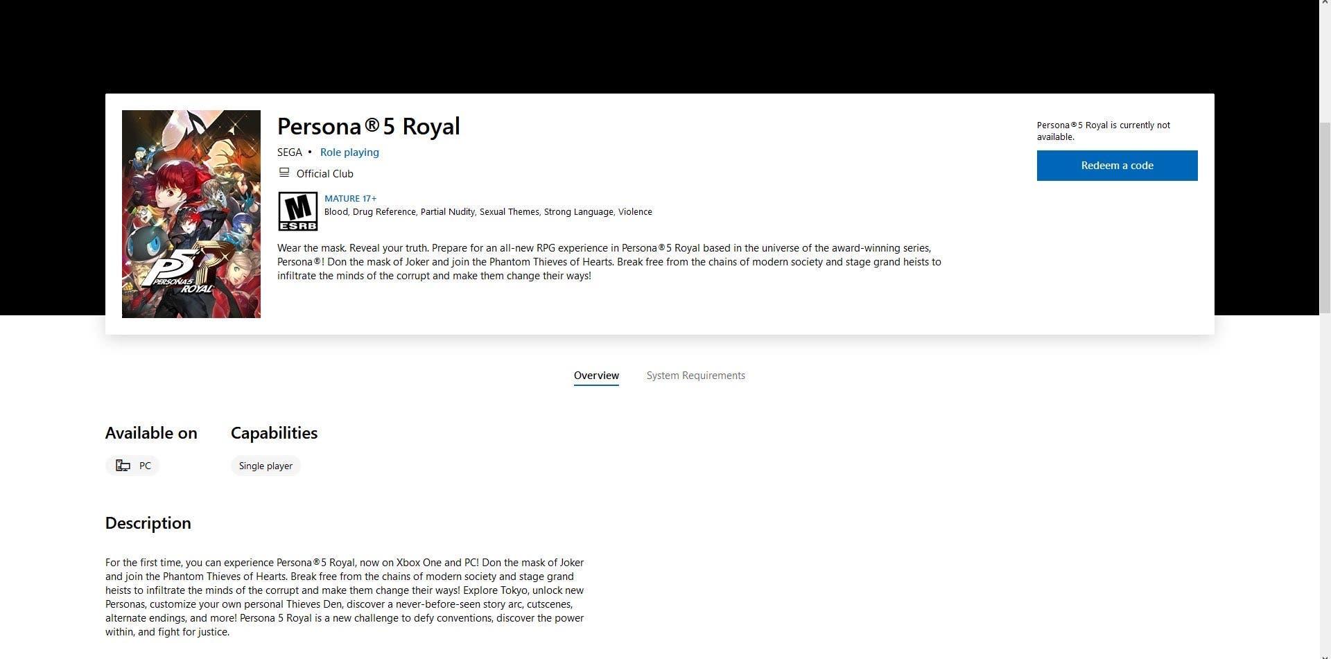 Persona 5 Royal en Xbox y PC
