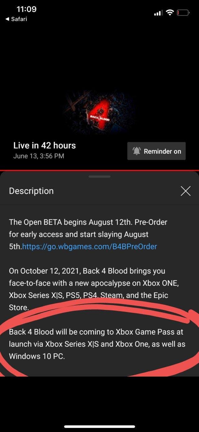 Back 4 Blood llegaría a Xbox Game Pass de salida