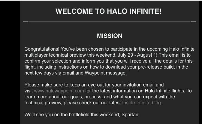 Invitaciones de la prueba técnica de Halo Infinite