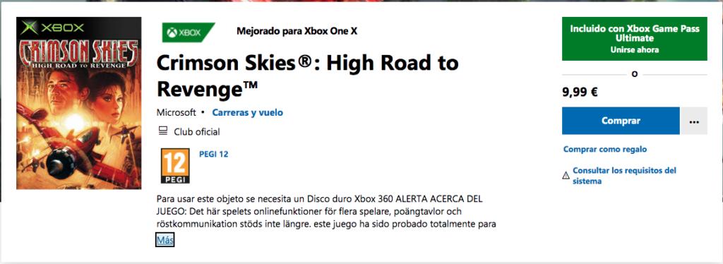 Disponibles Crimson Skies y otro juego en Xbox Game Pass