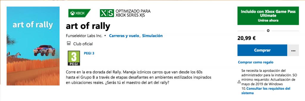 Art of Rally y otros 2 juegos más en Xbox Game Pass