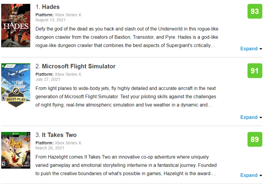 Hades se corona como el juego mejor valorado de Xbox Series X en Metacritic