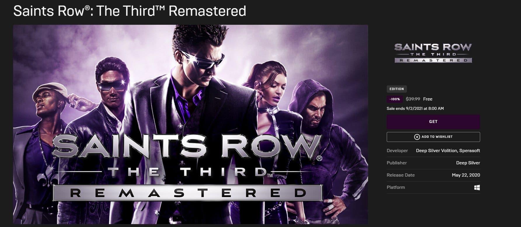 Saints Row The Third gratis en la Epic Games Store