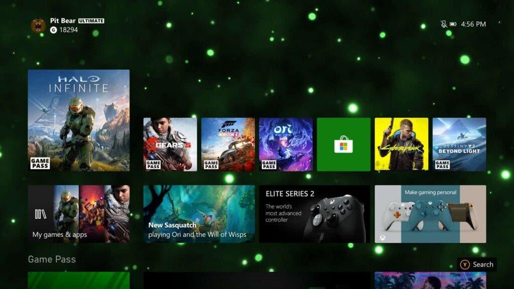 interfaz de Xbox Series X a 4K