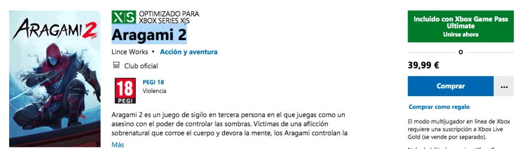 Disponible Aragami 2 en Xbox Game Pass