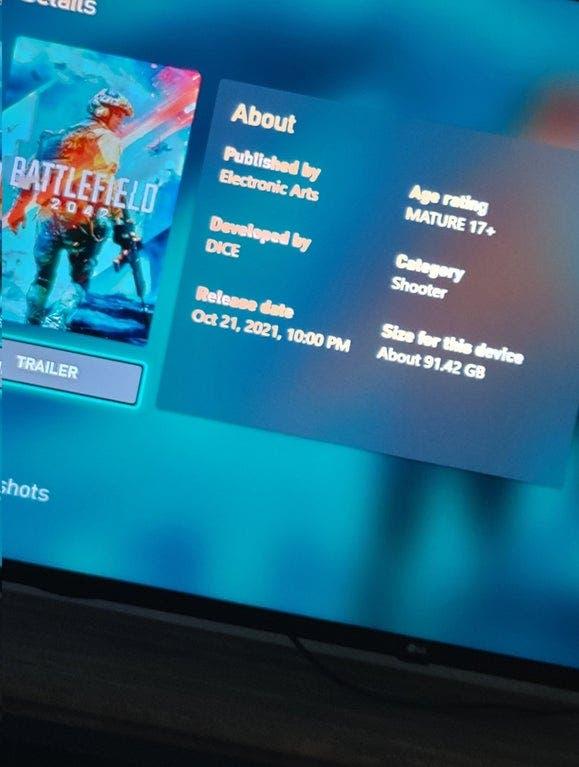 tamaño de descarga de Battlefield 2042